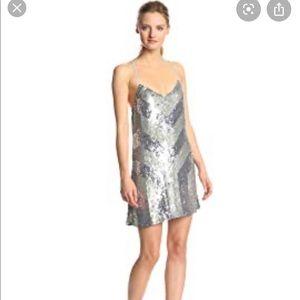 Parker  Catalonia Cevron gunmetal sequin dress XS